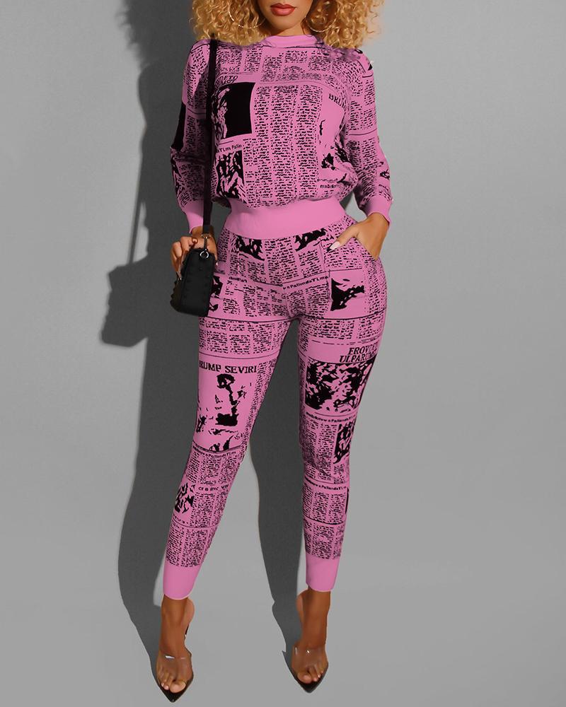 ivrose / Newspaper Print Long Sleeve Top & Pants Sets