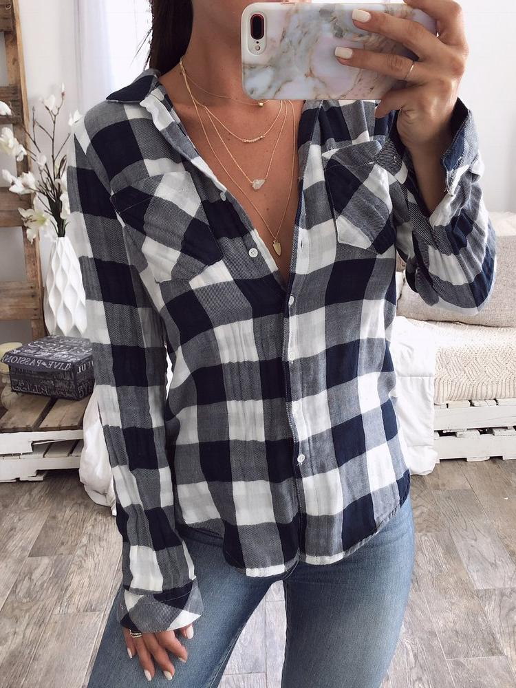 Plaid Print Button Up Long Sleeve Blouse фото
