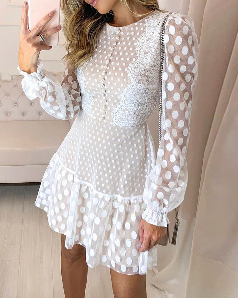 chicme / Dot Sheer Mesh Eyelash Lace Dress