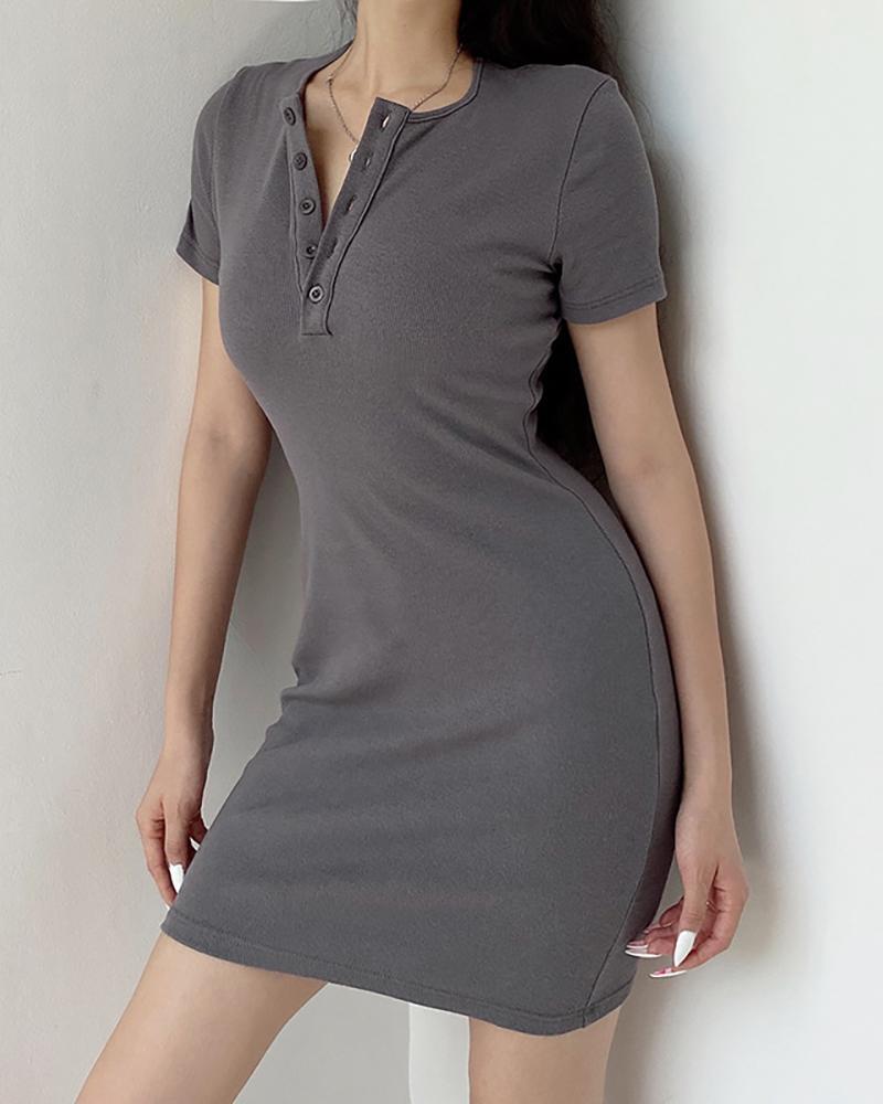 Button Design Short Sleeve Bodycon Dress фото