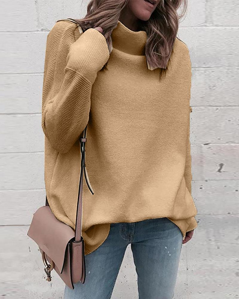 Solid High Neck Long Sleeve Knitting Sweater фото