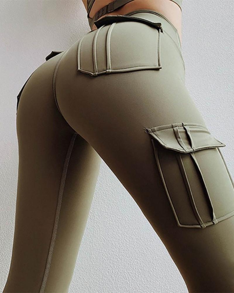 chicme / Pantalones de cintura alta con diseño de bolsillo sólido