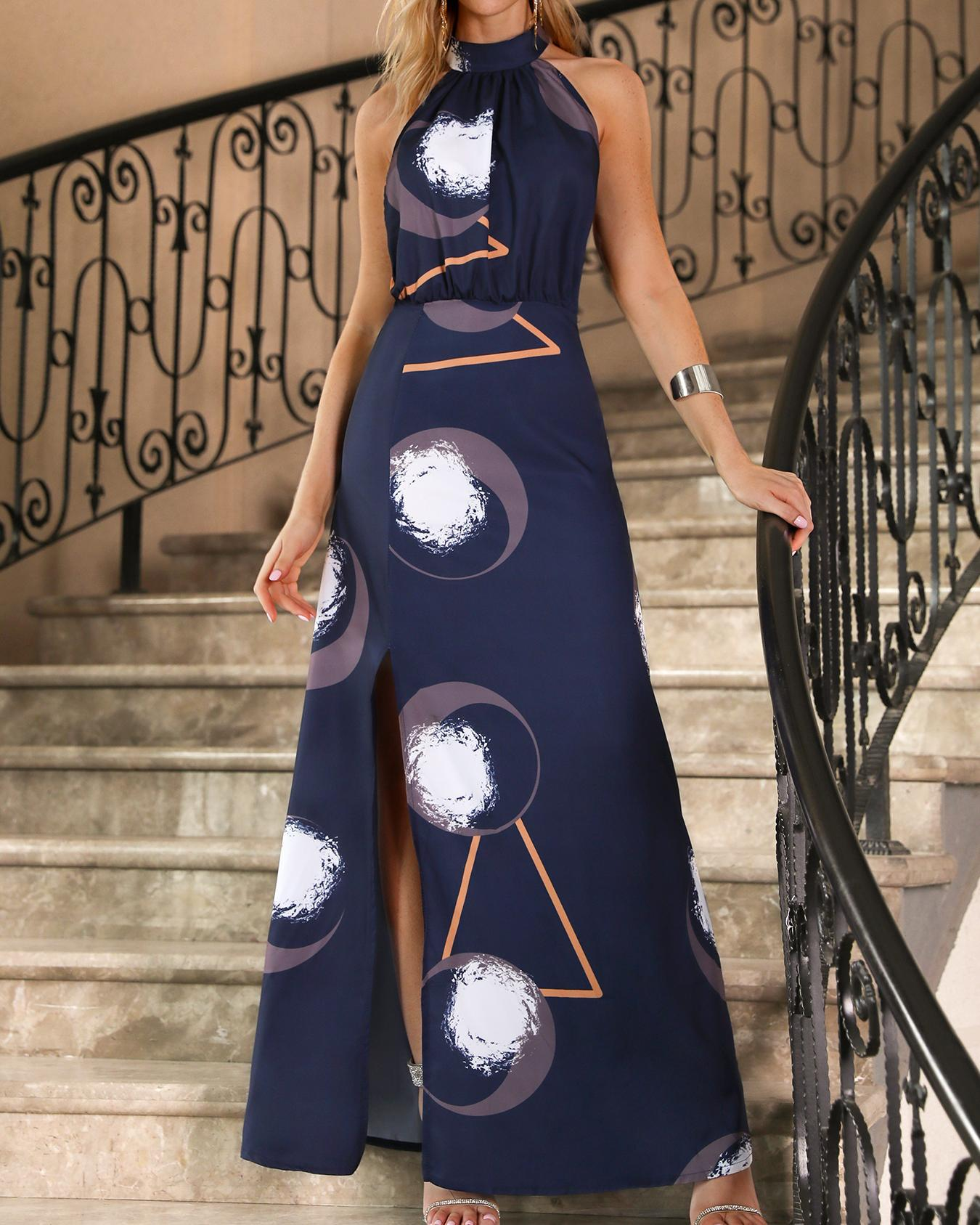 Abstract Geo Print Halter Slit Side Maxi Dress