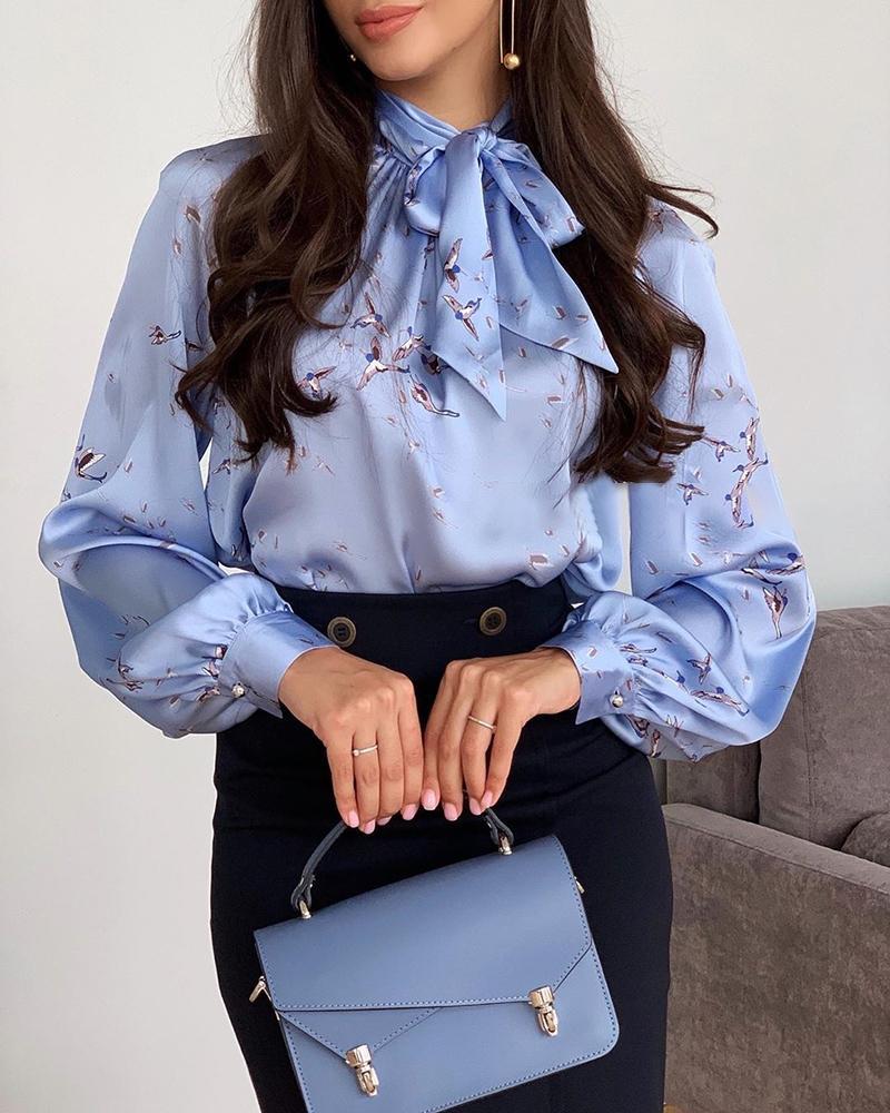 boutiquefeel / Blusa estampada de mangas de lanterna de impressão de pássaro