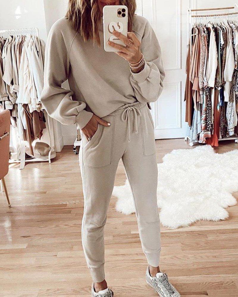 chicme / Sporty Plain Long Sleeve Top & Drawstring Pocket Pants Set