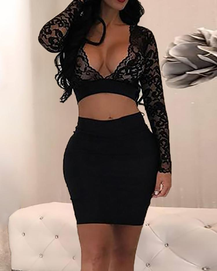 Sexy Lace Cropped High Waist Skirt Set