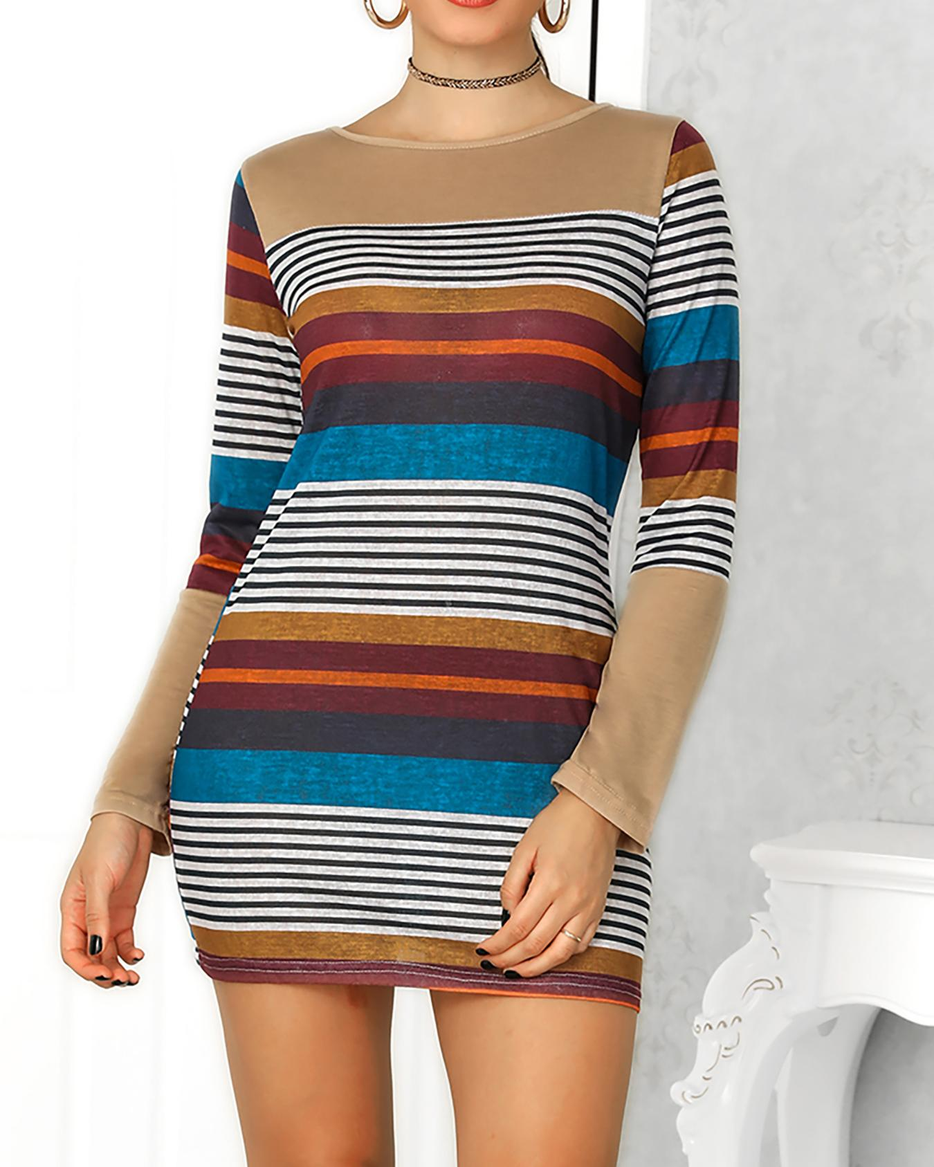 Multi Color Stripes Long Sleeve Dress