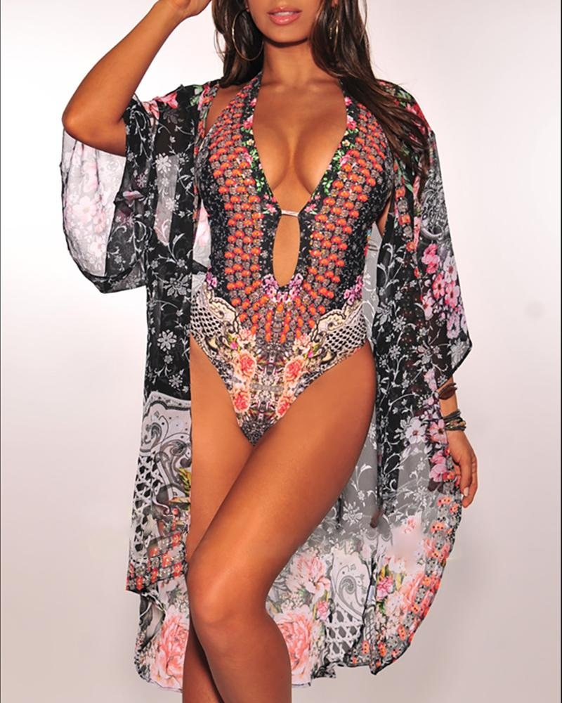 Ethnic Print One Piece Swimwear With Cover Up
