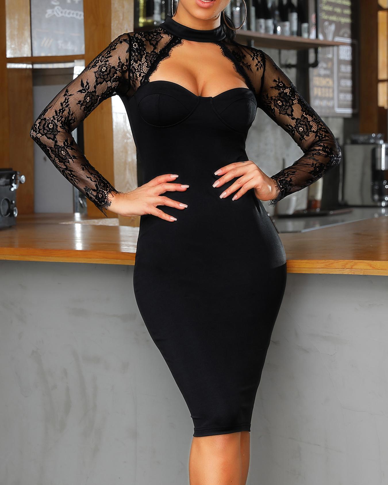 Lace Yoke Cut Out Bodycon Dress фото