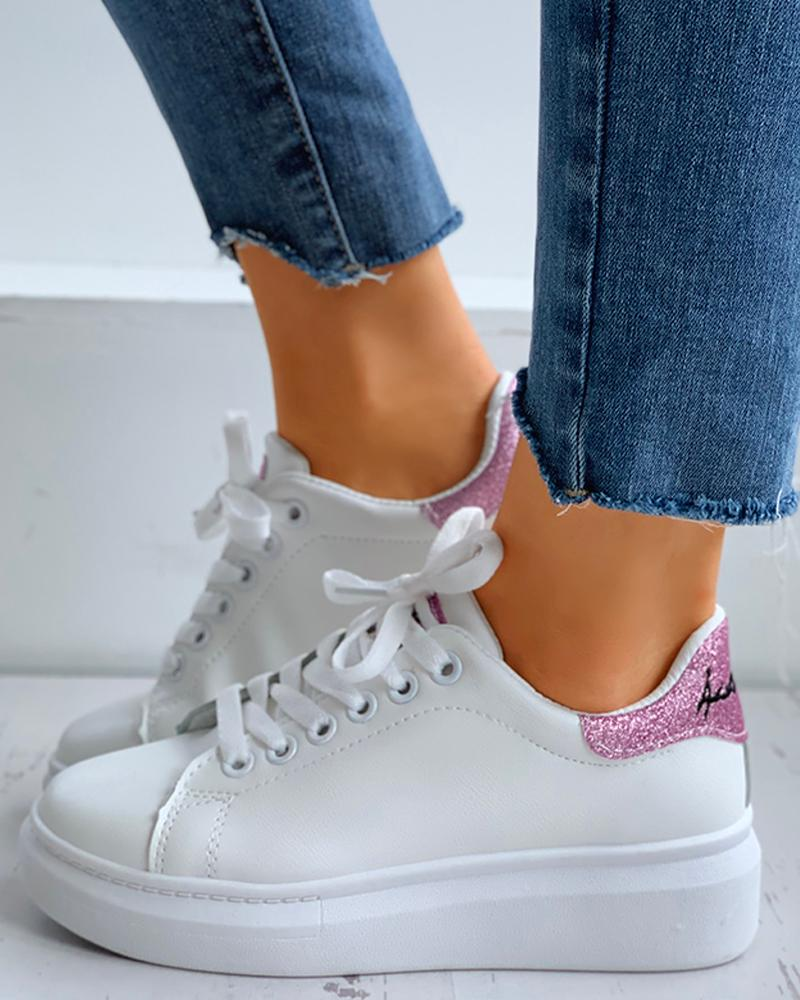 Glitter Letter Embroidery Lace-Up Casual Sneakers фото