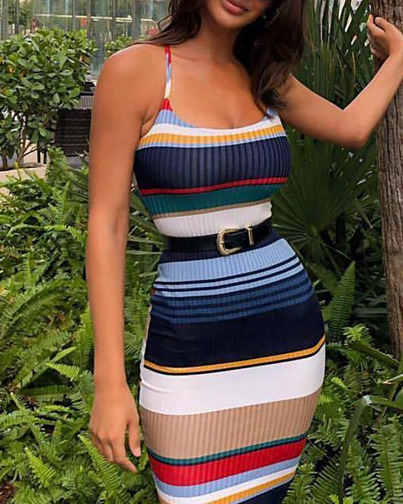 Multicolor Striped Print Backless Dress фото