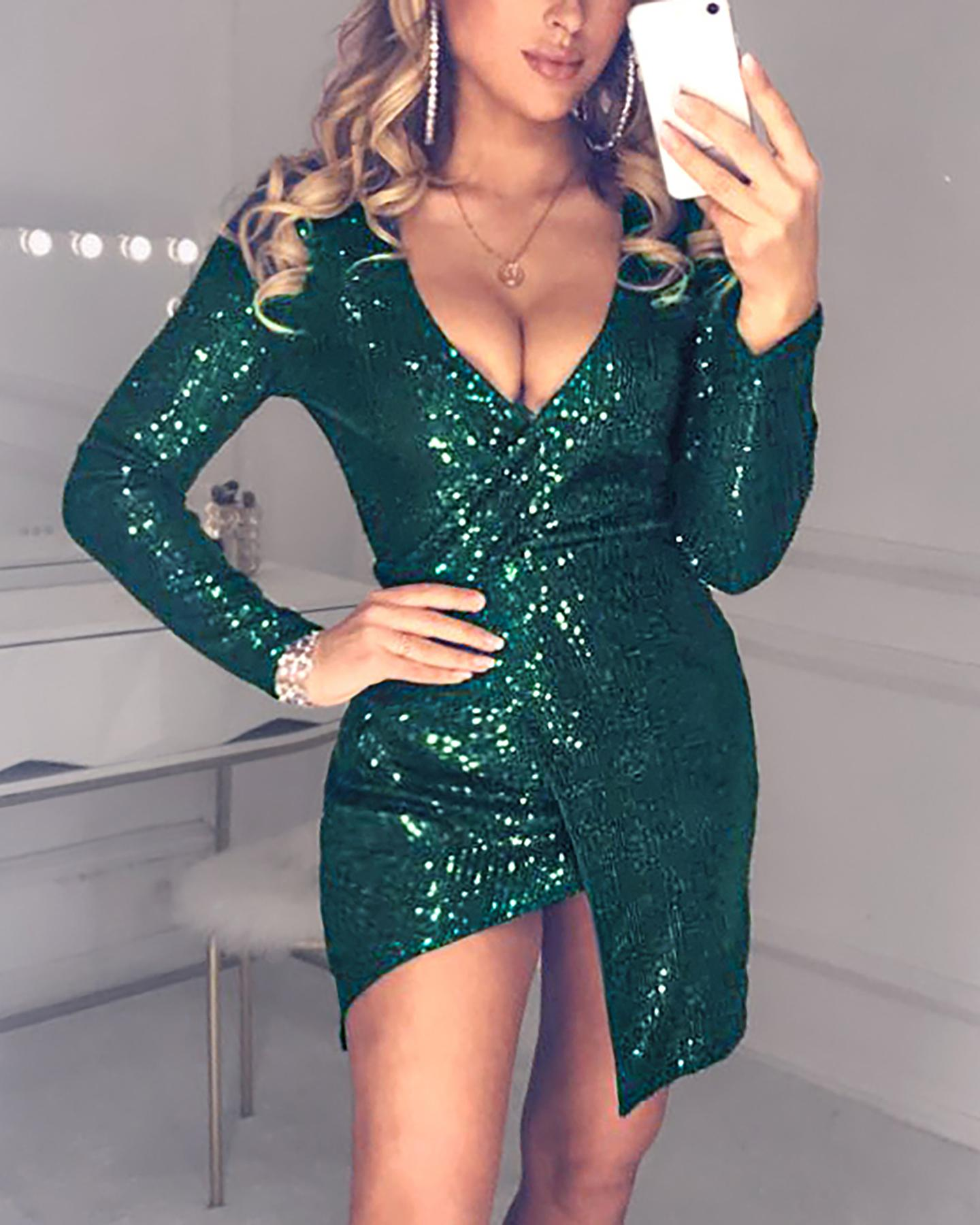 Glitter V-Neck Long Sleeve Slit Sequins Bodycon Dress фото
