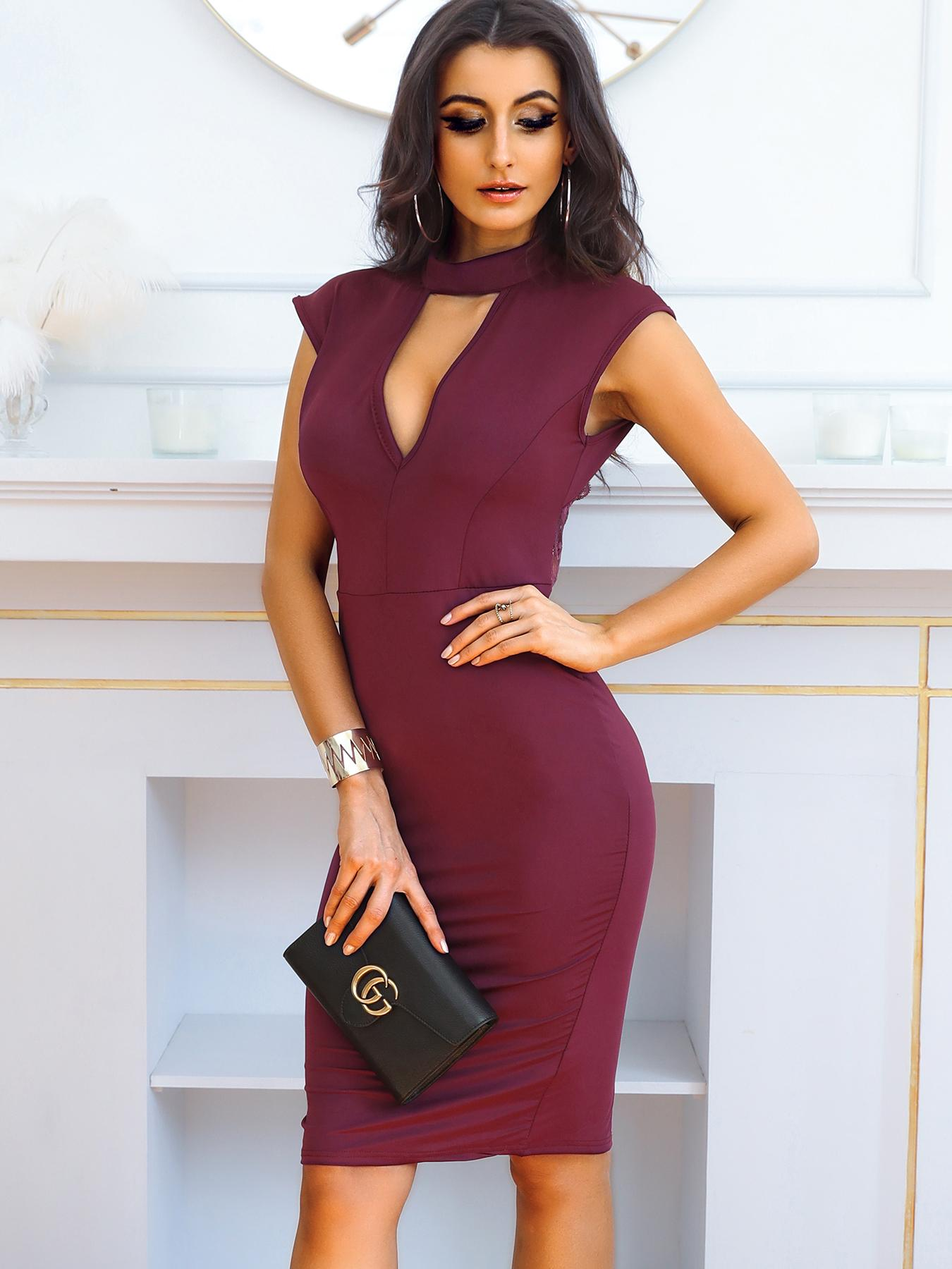 Sexy Mock Cut Out Front Open Back Bodycon Dress фото