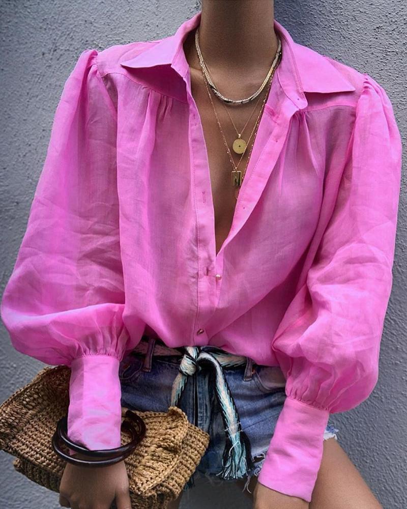 ivrose / Camisa casual de manga de linterna sólida
