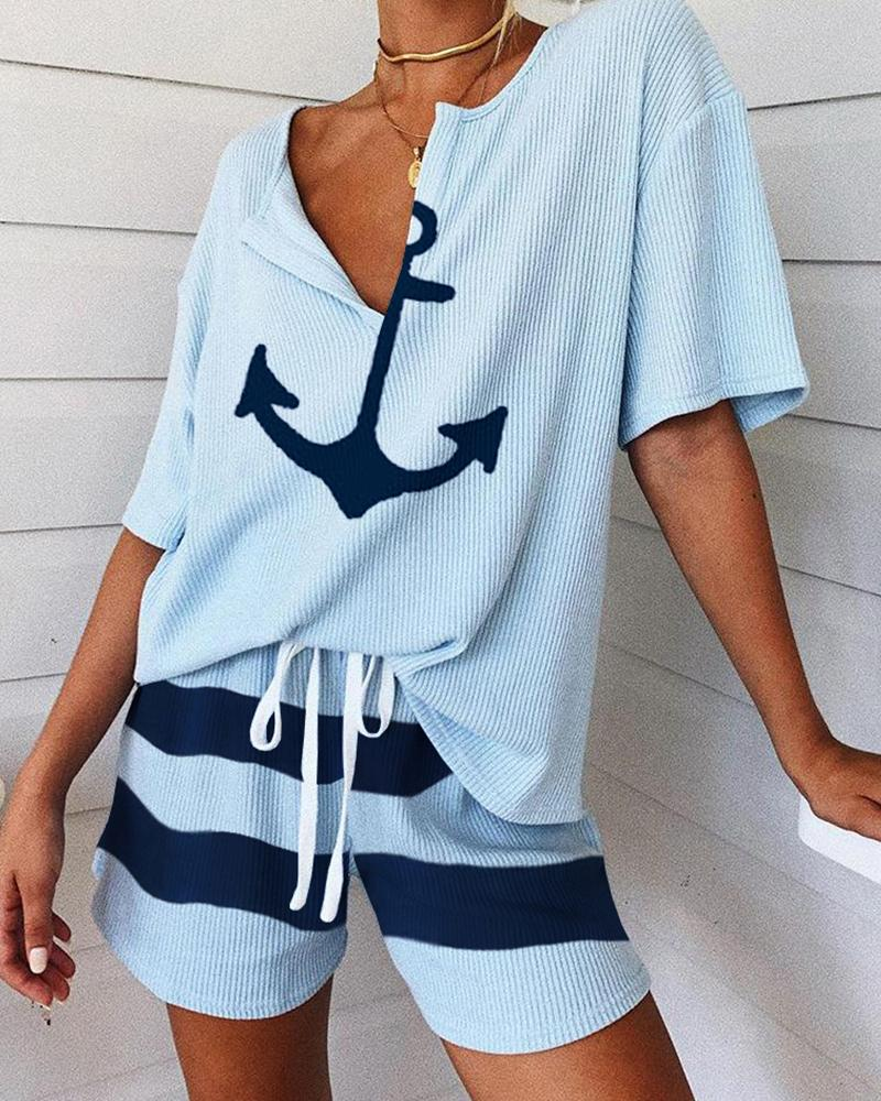 Boat Anchor Print Striped Short Sleeve Pajamas Set фото