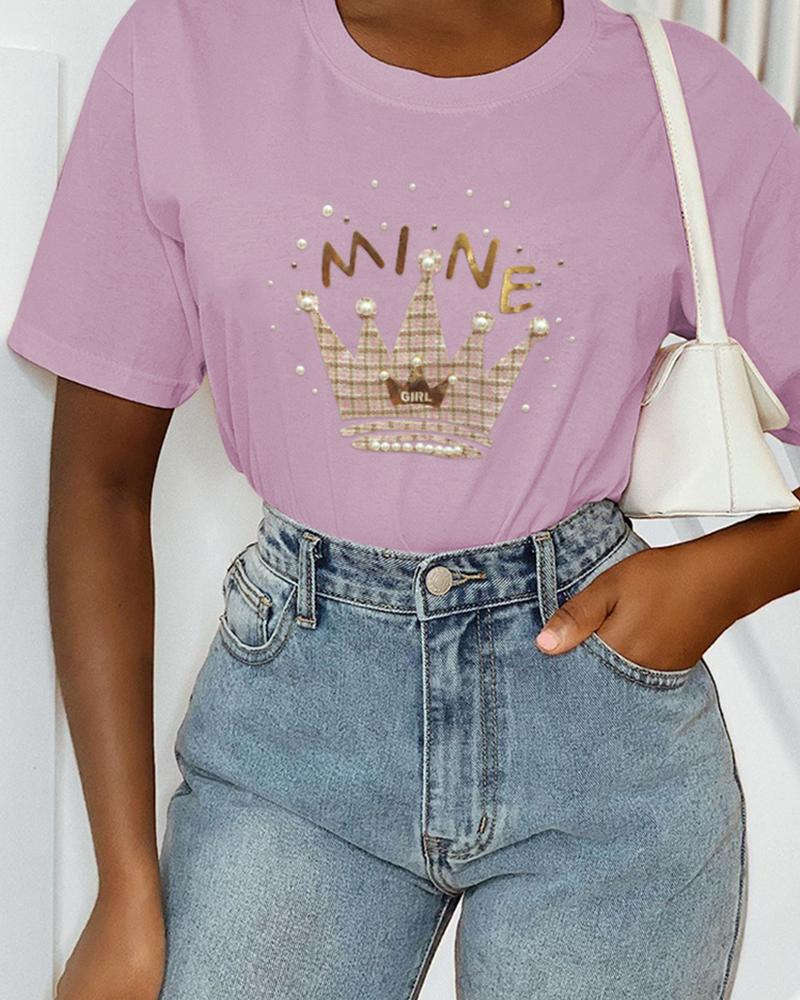 Beaded Crown Pattern Casual T-shirt фото