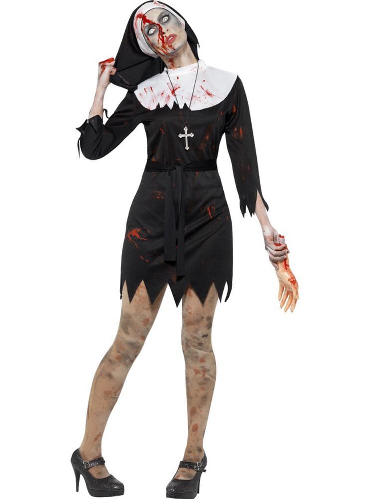 Women Dead Zombie Crazy Nun Costumes Party Dress Set