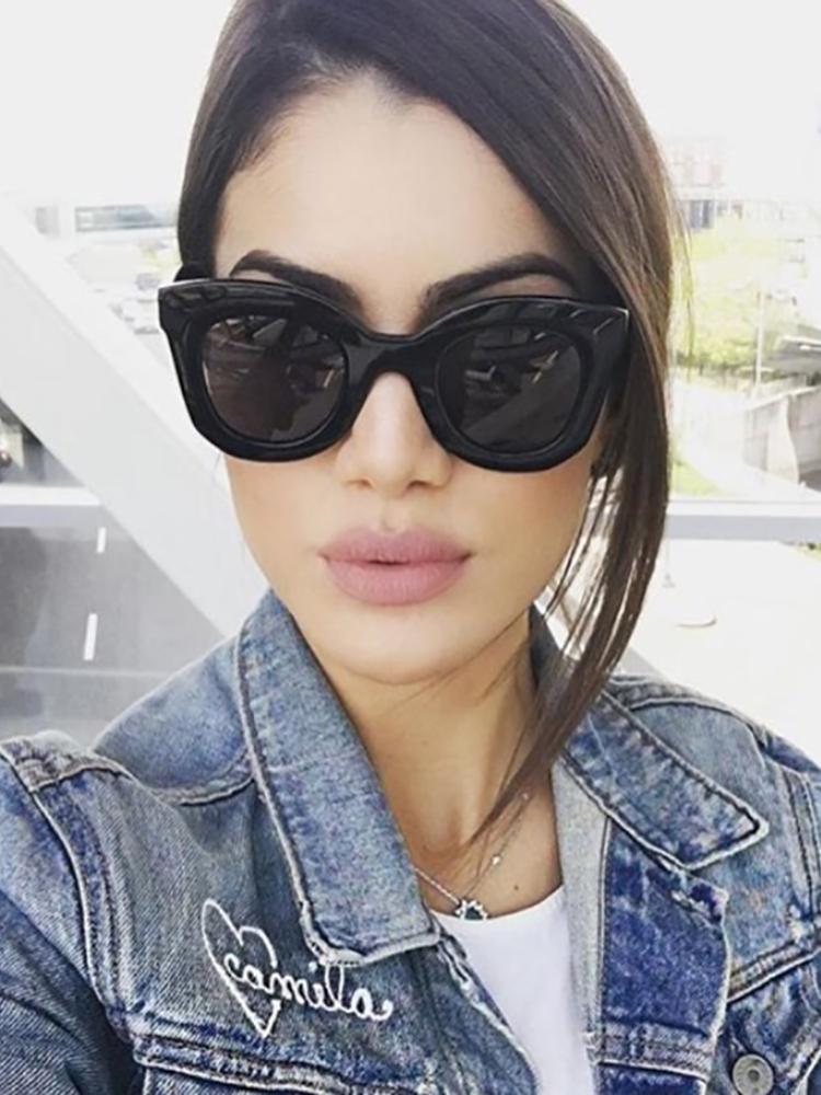 Contrast Frame Cat Eye Sunglasses - Black