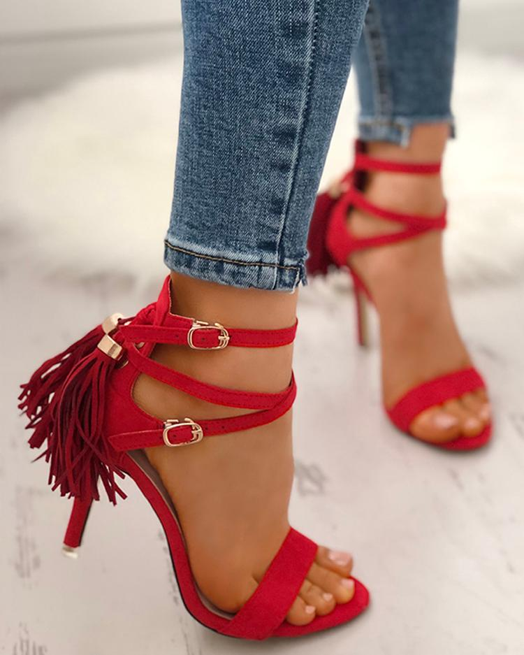 chicme / Peep Toe Crisscross Bandage Tassel Stiletto Sandals