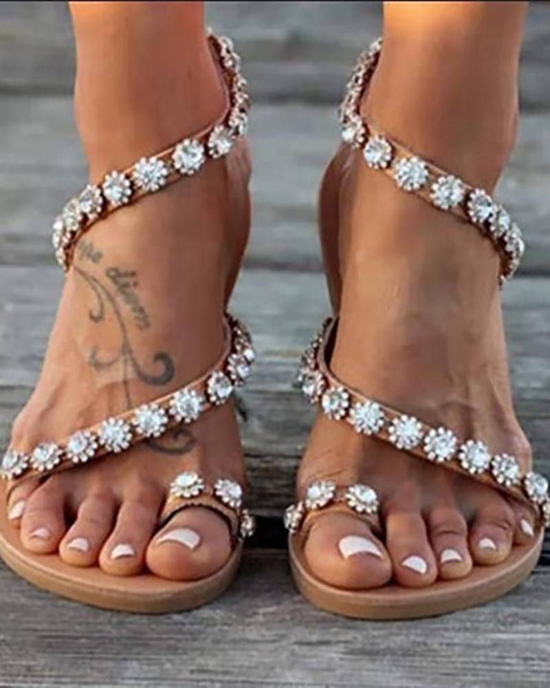 Studded Detail Toe Ring Flat Sandals фото
