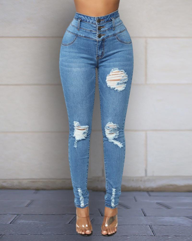 chicme / Jeans rasgados de cintura alta