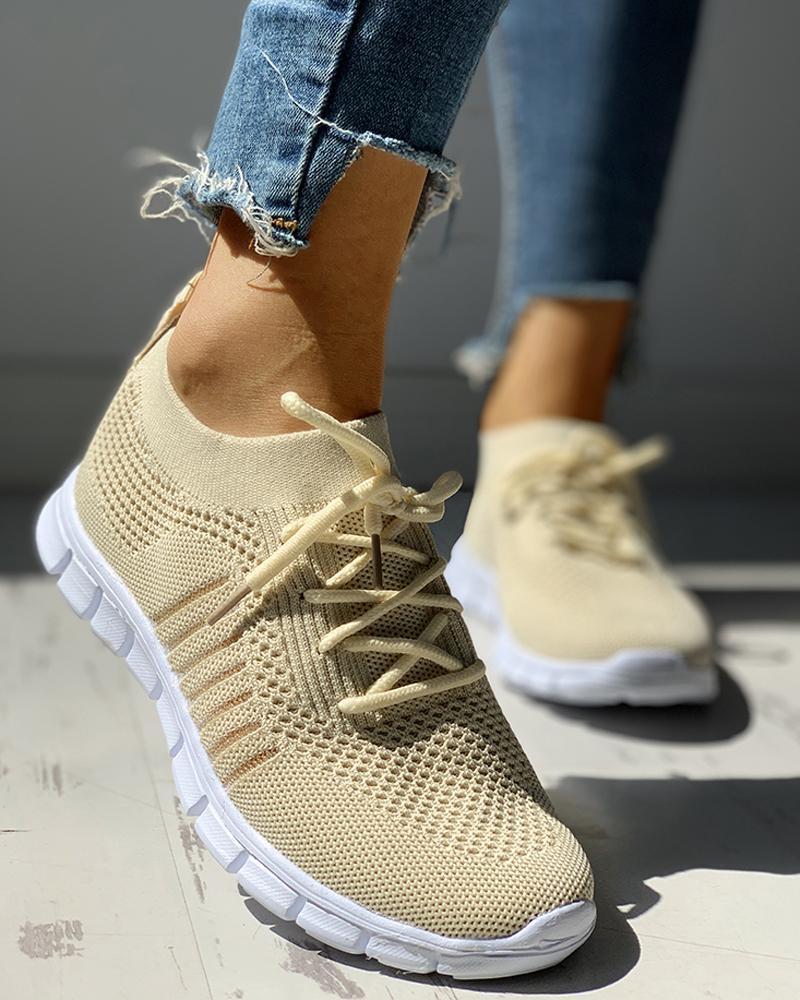 boutiquefeel / Zapatillas de deporte de punto con rayas y cordones transpirables