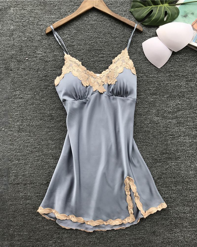 Lace Trim Satin Sleepwear Cami Dress фото