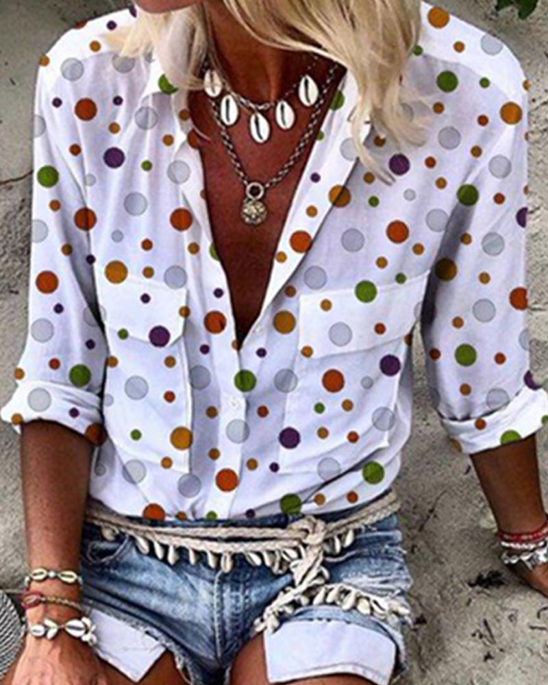Double Pockets Dot Print Shirt, White
