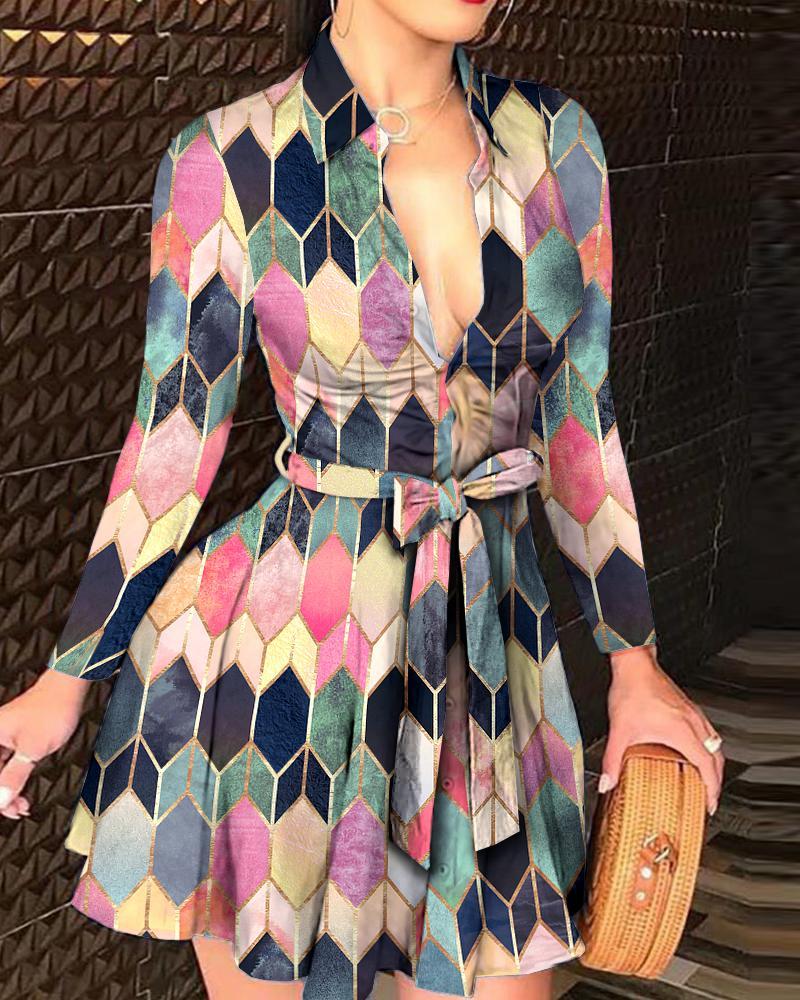 chicme / Colorblock Button Design Long Sleeve Shirt Dress