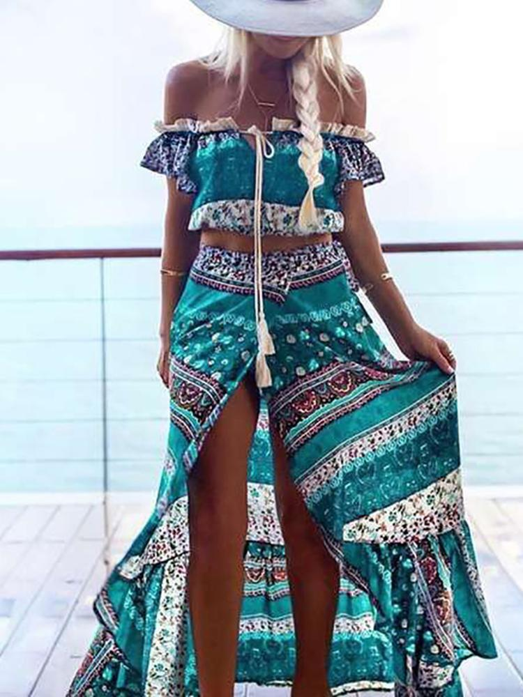 Boho Style 2PCS Ruffles Printed Cropped Maxi Suit Sets