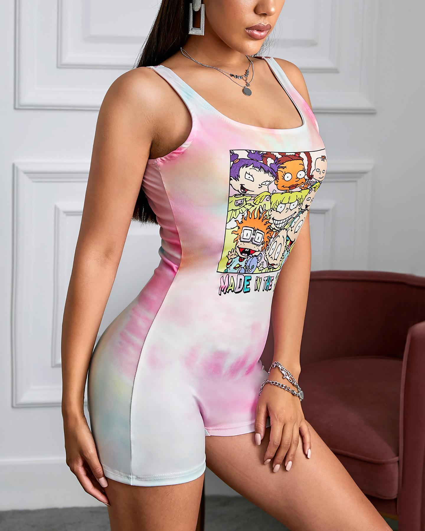 chicme / Mameluco ajustado con tira gruesa y estampado de dibujos animados Tie Dye