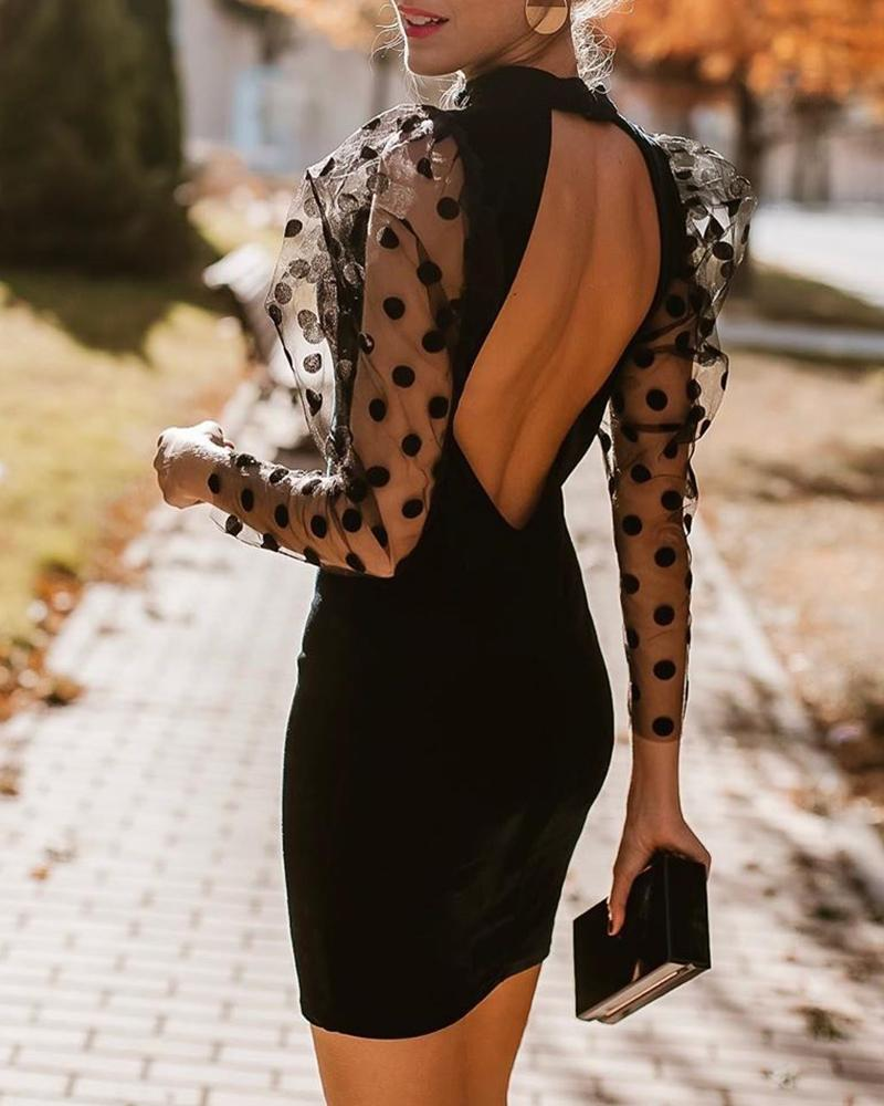 Dot Mesh Puffed Sleeve Open Back Dress фото