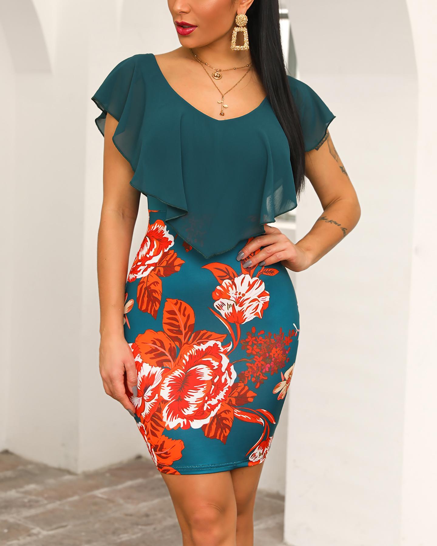 Floral Print Ruffles Design Bodycon Dress