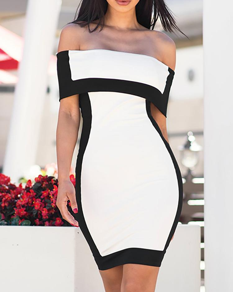 Color Blocking Fold Over Off Shoulder Bodycon Dress фото