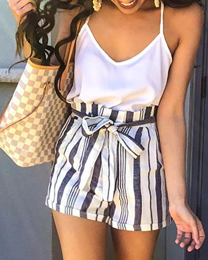 Striped Paperbag Waist Casual Shorts