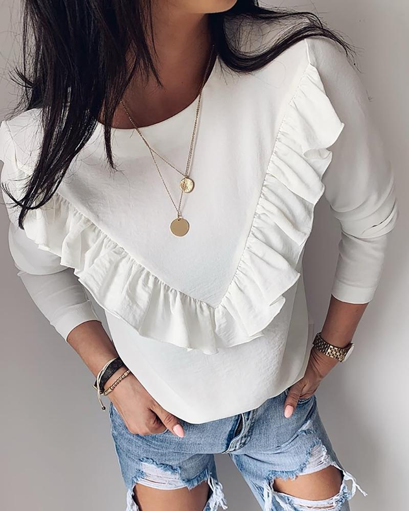 Solid Ruffles Design Long Sleeve Blouse, White