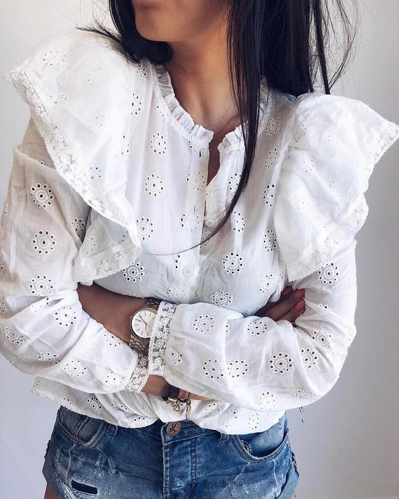 Ruffles Design Lace Long Sleeve Blouse