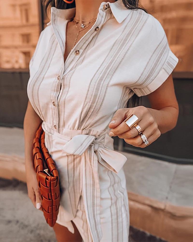 Striped Short Sleeve Bottoned Design Shirt Dress фото