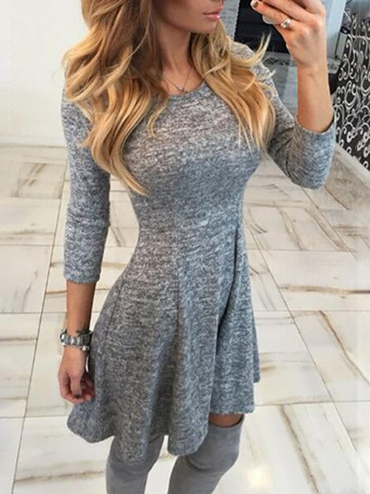 Autumn Solid Pleated Casual Dress, Gray