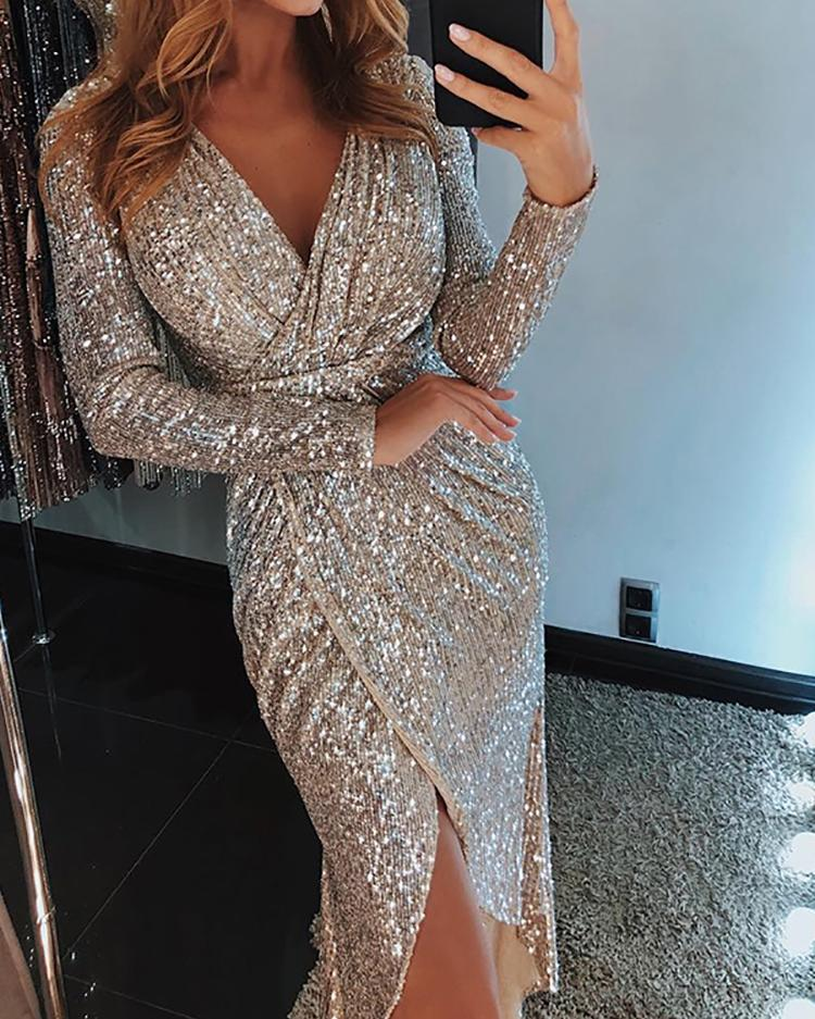Wrap Ruched Irregular Sequin Party Dresses chicme