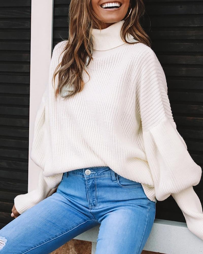 High Neck Lantern Sleeve Solid Sweater фото