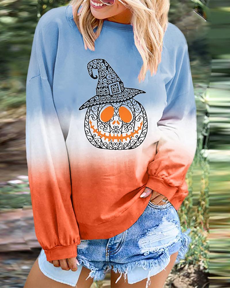 Halloween Pumpkin Bat Print Gradient Color Top фото