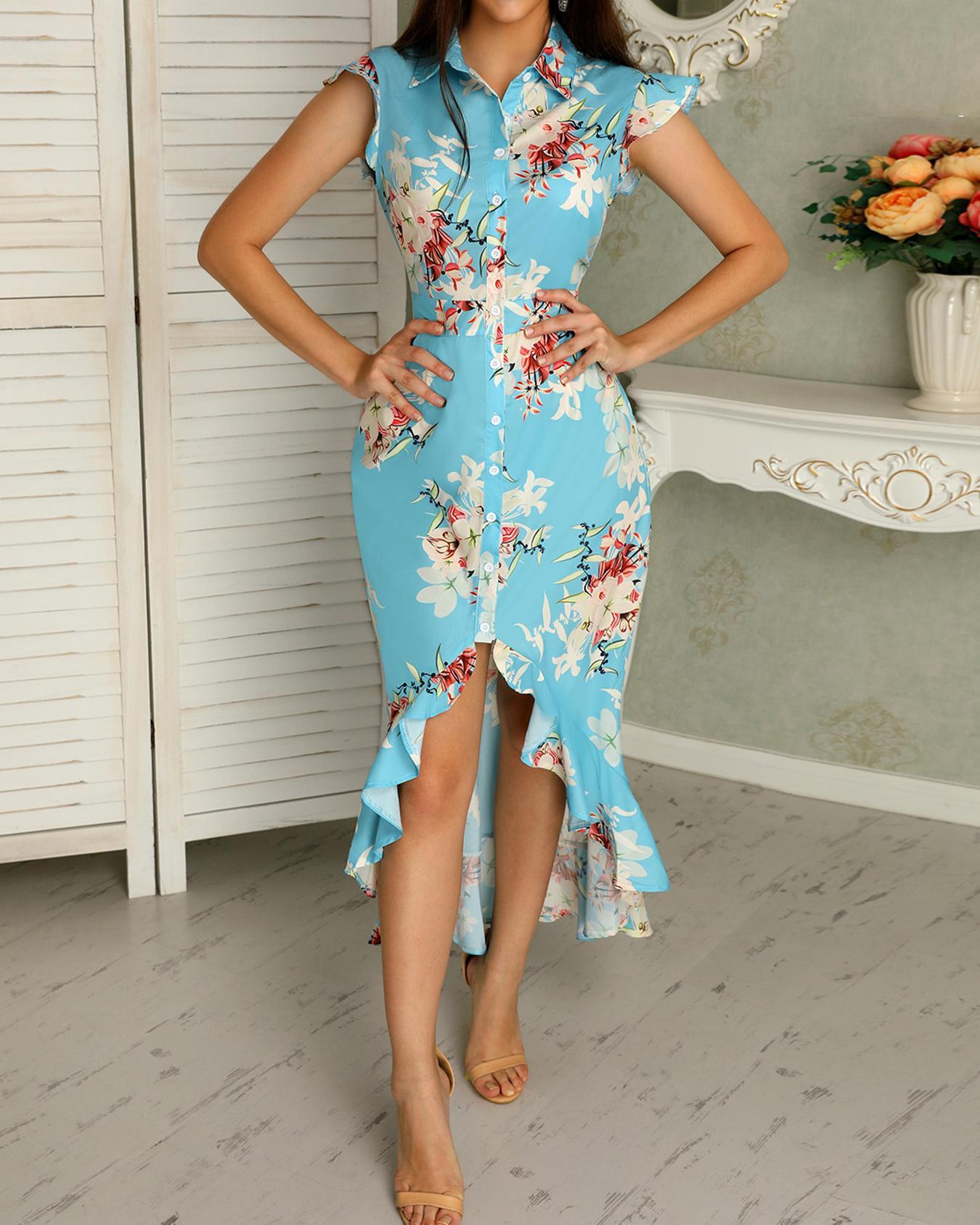 joyshoetique / Floral Print Ruffled Dip Hem Maxi Dress