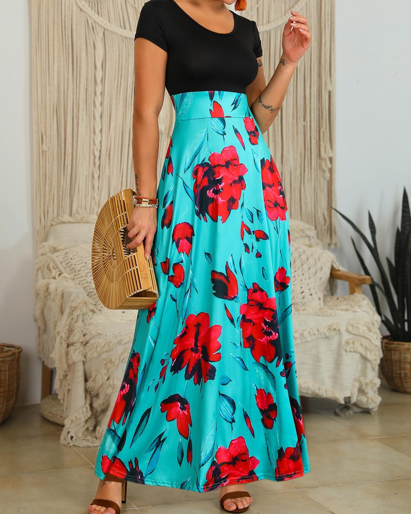 Floral Print Short Sleeve Maxi Dress фото