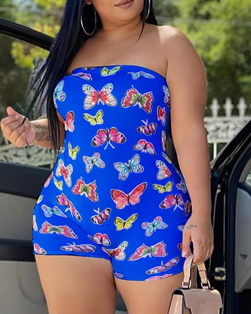 Butterfly Print Bandeau Sleeveless Romper фото