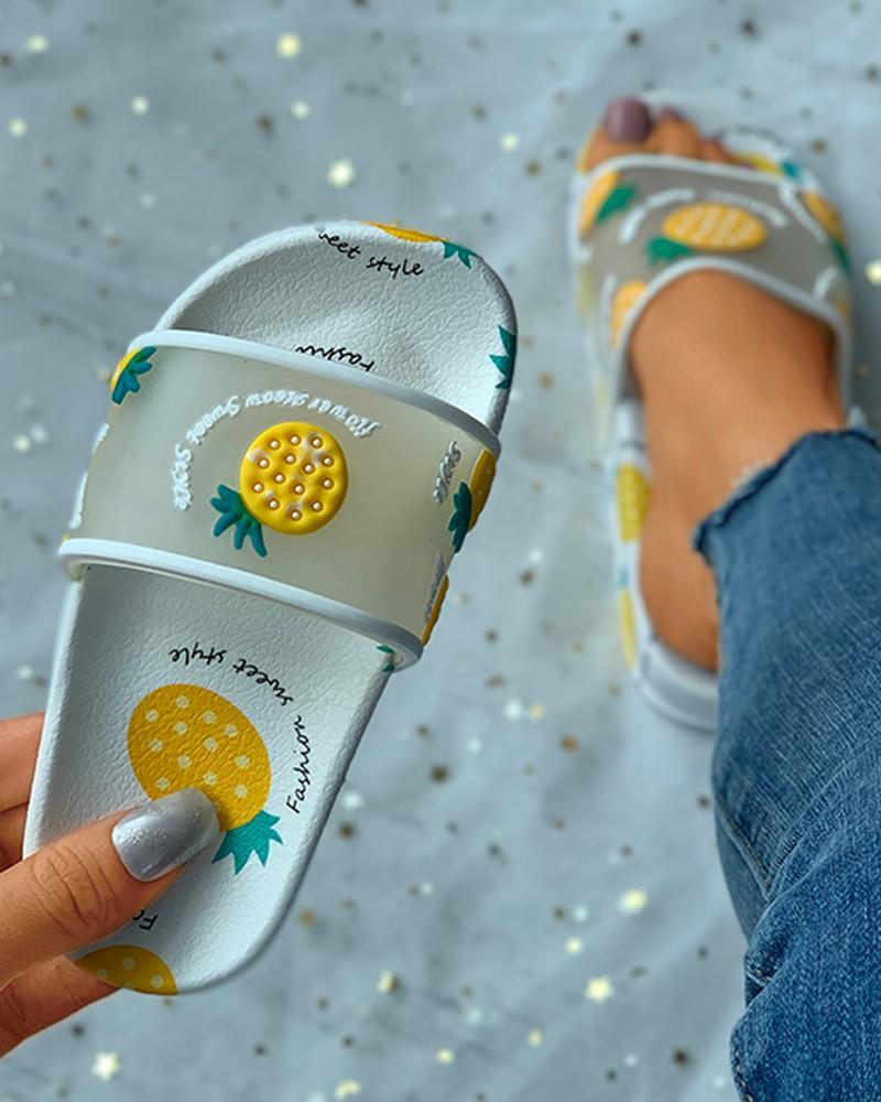 Fruit Letter Pattern Slider Sandals For Childrens фото