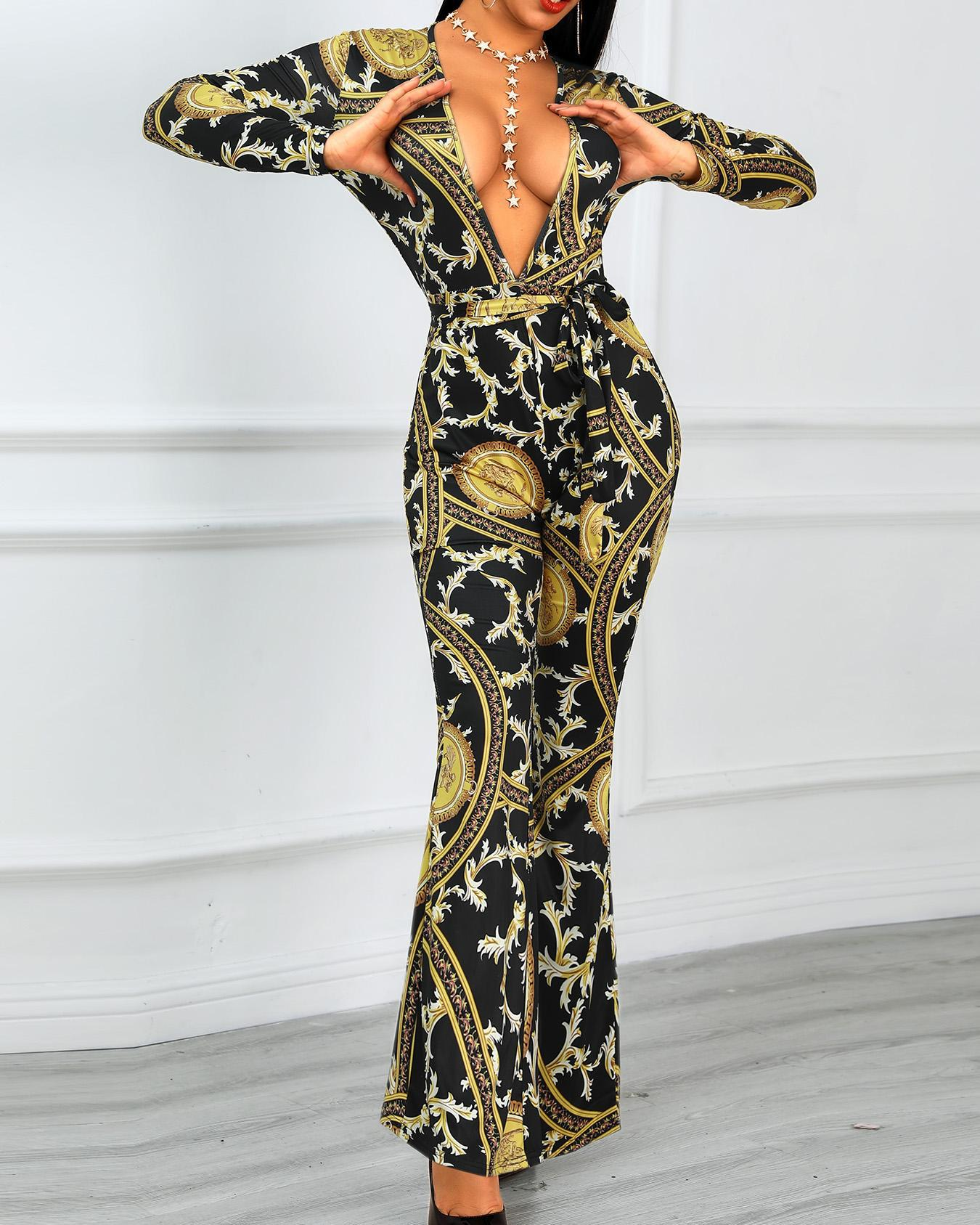 Retro Print Plunge Belted Flared Jumpsuits