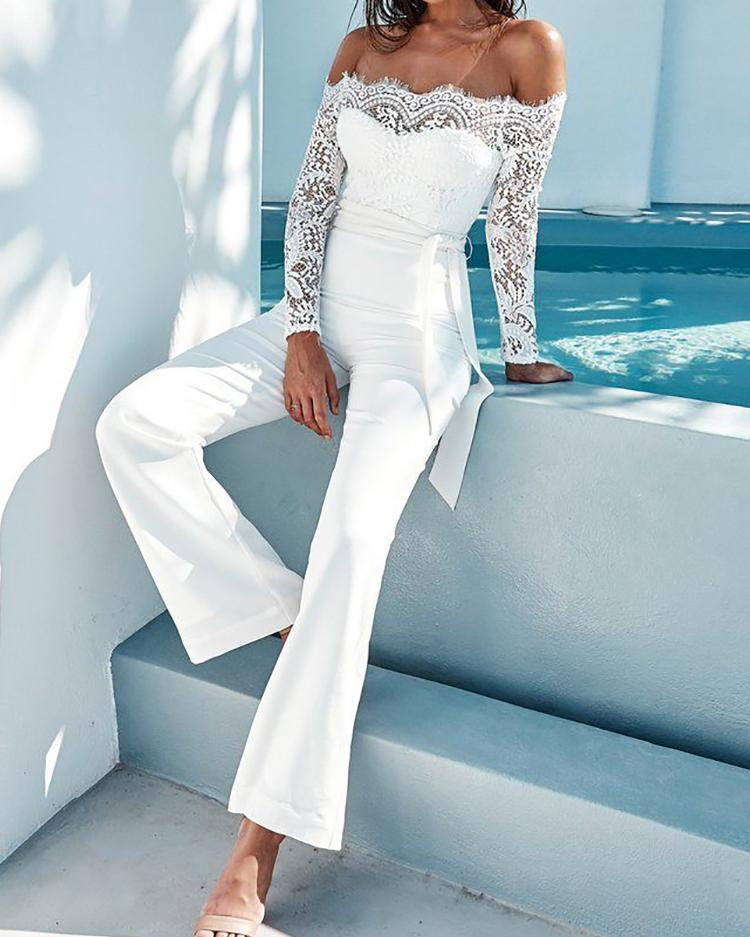Купить со скидкой White Elegant Lace Sleeve Eyelash Wide Leg Jumpsuit Pantsuit Romper