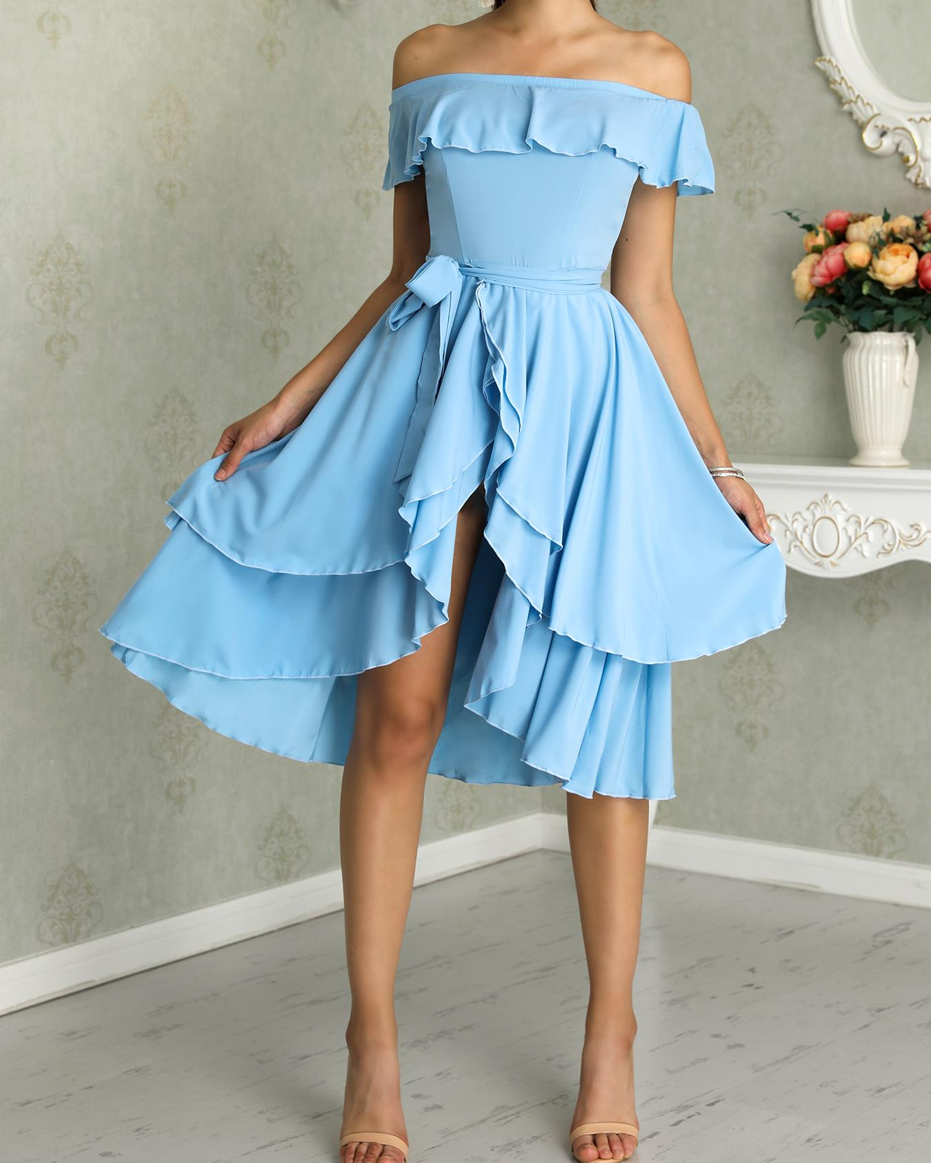 boutiquefeel / Volantes Off hombro dobladillo dobladillo vestido casual