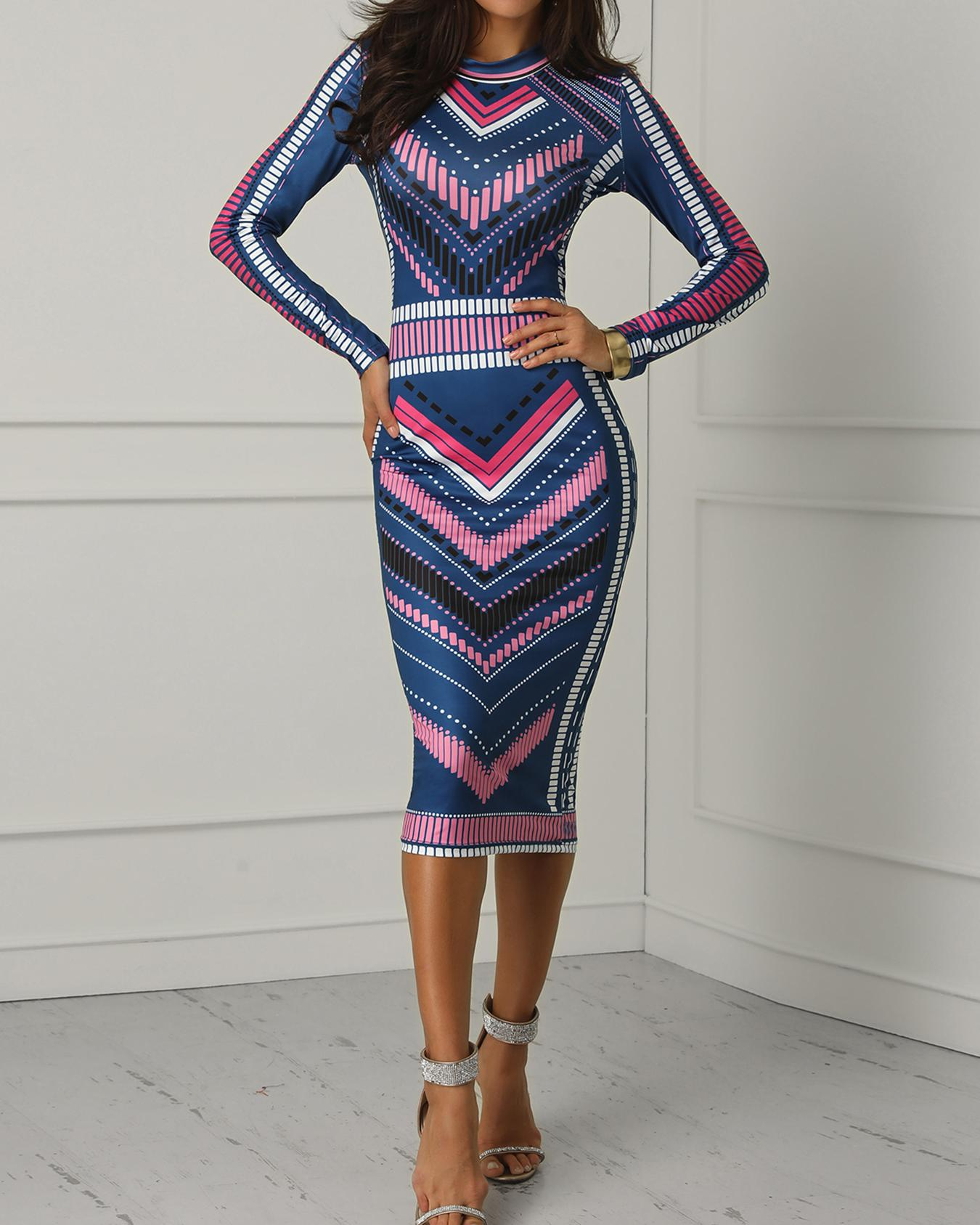 Colorblock Chevron Stripe Bodycon Dress фото
